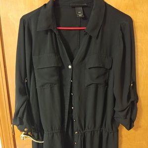 Button Down Black Tunic Blouse